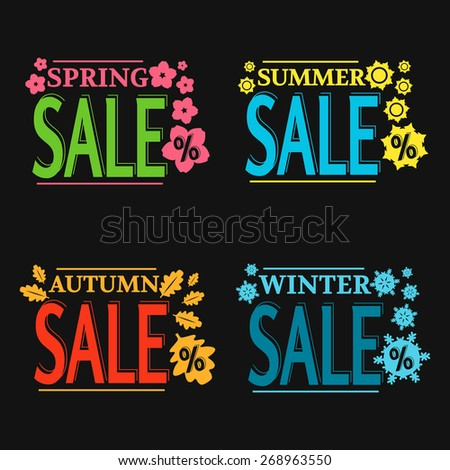 vector colorful season sale labels on black background - stock vector