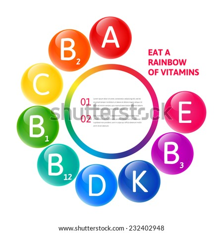 Vector colorful set of the rainbow colored bubble vitamins for your infographic. Circle illustration. - stock vector