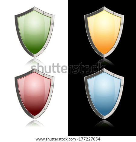 vector colorful shields with metallic border and reflections. Eps10