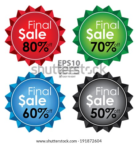 Vector : Colorful Shiny Flower Shape Icon, Label or Sticker With Final Sale 50-80 Percent Off Sign Isolated on White Background  - stock vector