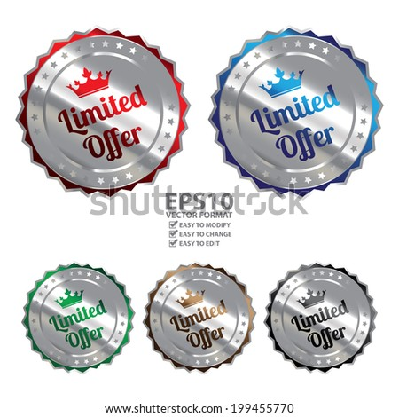 Vector : Colorful Silver Metallic Limited Offer Icon, Sticker, Badge or Label Isolated on White Background - stock vector