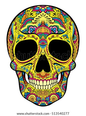 Vector colorful skull graphics with floral ornaments.