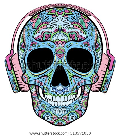 Vector colorful skull graphics with floral ornaments and headphones