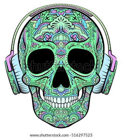 Vector colorful skull graphics with floral ornaments and headphones.