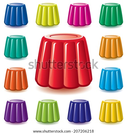 vector colorful soft gelatin jelly assortment - stock vector