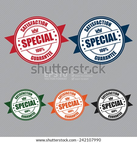 Vector: Colorful Special Satisfaction Guarantee 100% Icon, Badge, Sticker, Tag or Label - stock vector