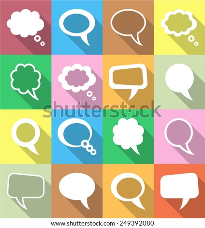 Vector colorful speech and thought bubbles flat icons - stock vector