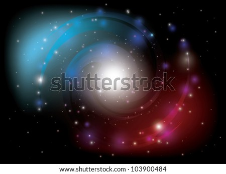 vector colorful spiral galaxy - stock vector