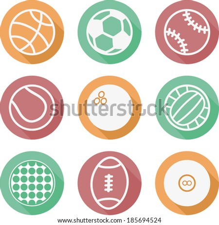 vector colorful sport ball icons - Separate layers for easy editing