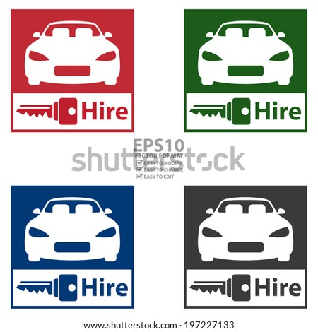 Vector Colorful Square Car Hire Car Stock Vector 197227133