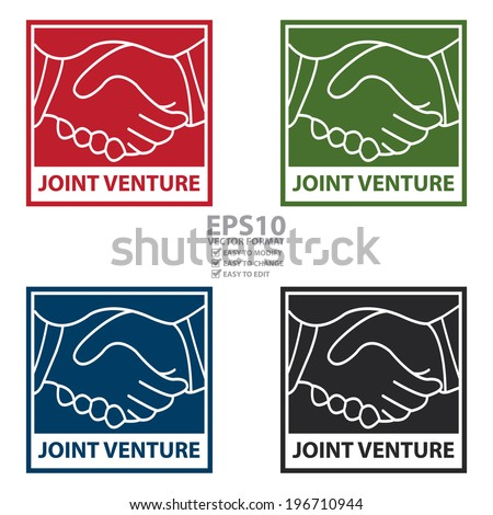Vector colorful square joint venture icon sticker or label isolated on white background