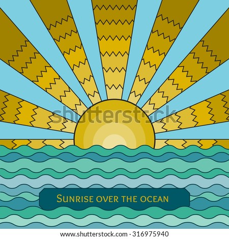 Vector colorful stained-glass window style illustration of sunrise over the ocean. Stylized mosaic background sunset over the sea. Sunrise over the waves template for your design. - stock vector
