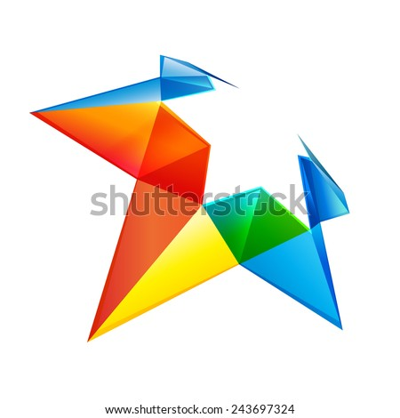 Vector colorful star logo icon - stock vector
