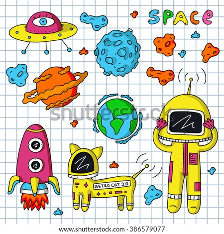 Vector colorful stickers of astronaut, planets, ufo, rocket, cosmo cat and asteroids on white background.