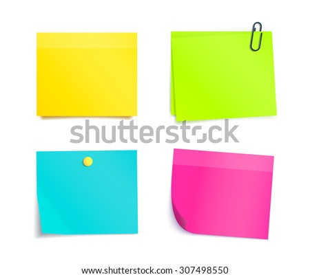 Vector colorful sticky notes on white background. Memo, paper sheet, notepad pages and elements for attaching. Blank reminder sheet. - stock vector
