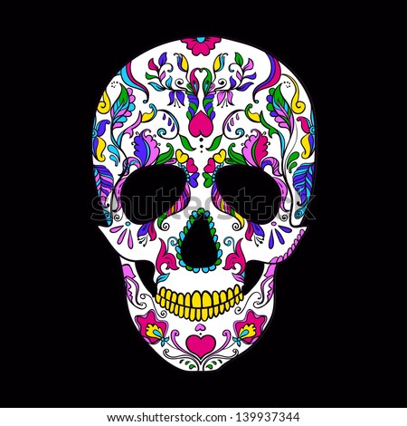Vector colorful Sugar Skull. Day of the Dead - stock vector