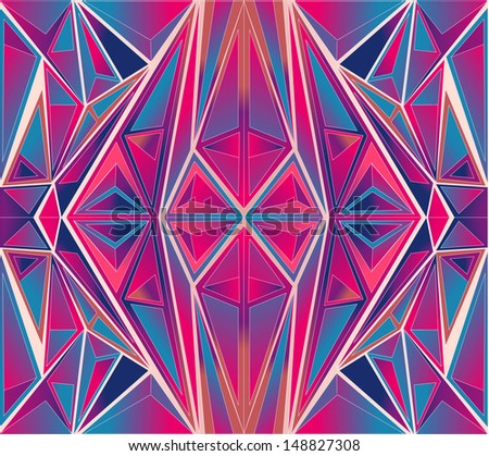 vector colorful symmetrical triangle pattern background - stock vector