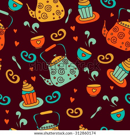 vector  colorful tea time seamless pattern with teapot,cupcake. It can be used for wallpaper, fabric design, textile design, cover, wrapping paper, banner, card, background, menu.