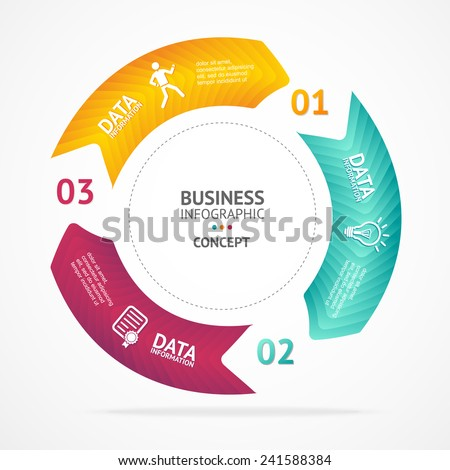 Vector colorful text boxes, infographics options banner 1 2 3 concept - stock vector