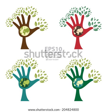 Vector : Colorful The Blue Hand Tree With Earth Sign Inside Isolated on White Background - stock vector