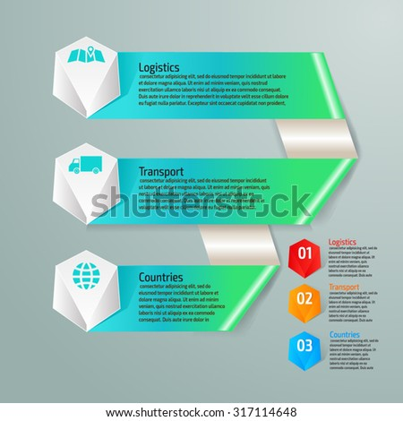 Vector colorful transport infographics for your business presentations. Can be used for info graphics, graphic or website layout vector, numbered banners, diagram, web design. - stock vector