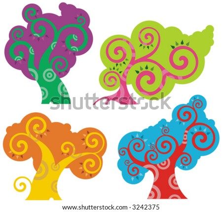 Vector colorful tree designs in a spiraltype style. Check my portfolio for more of this series as well as thousands of other great vector items. - stock vector