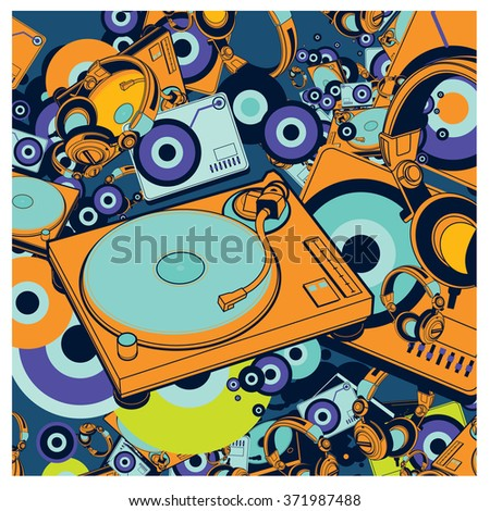 Vector colorful turn table DJ set pattern background - stock vector