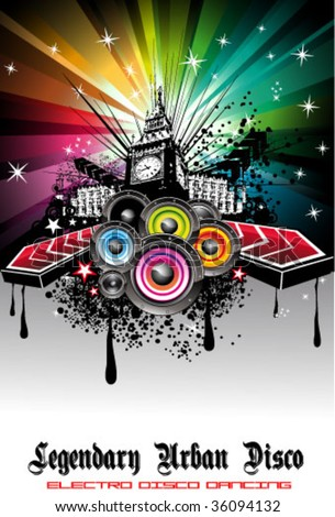 VECTOR Colorful Urban Music Background for Disco flyers
