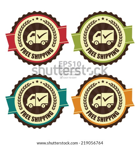 Vector : Colorful Vintage Free Shipping Icon, Badge, Sticker or Label Isolated on White Background  - stock vector
