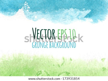 Vector colorful watercolor background. Abstract grunge background. Bright green and blue spring modern design template with place for your text. Frame from watercolor stains. Brush stroke element. - stock vector