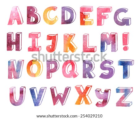 vector colorful watercolor hand drawn alphabet, font, letters - stock vector