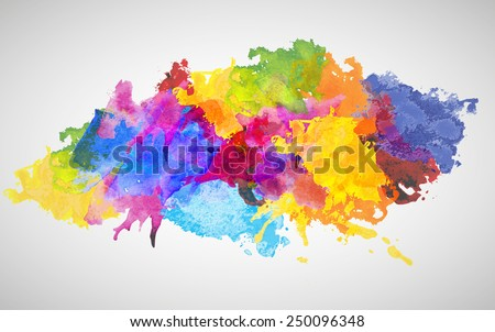 Vector Colorful Watercolor Splash for decoration of posters, typography, flyers and other. Rainbow colors - yellow, red, violet, indigo, blue, pink, red, green.  - stock vector