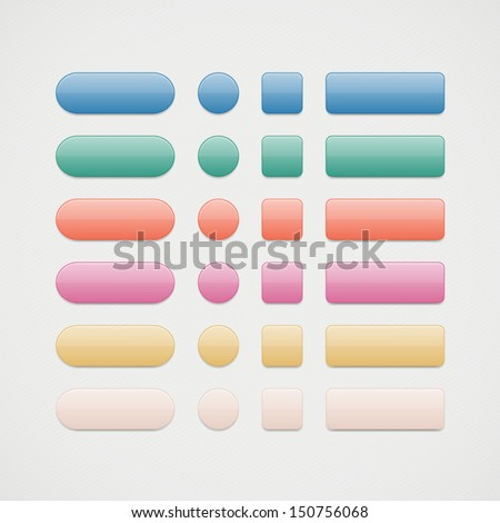Vector colorful web buttons set. Glossy button icons for your design - stock vector