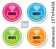 Vector: Colorful  wifi free sign for business or commercial use. - stock vector