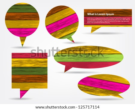 Vector colorful wood texture speech bubbles and balloons illustration collection background vector