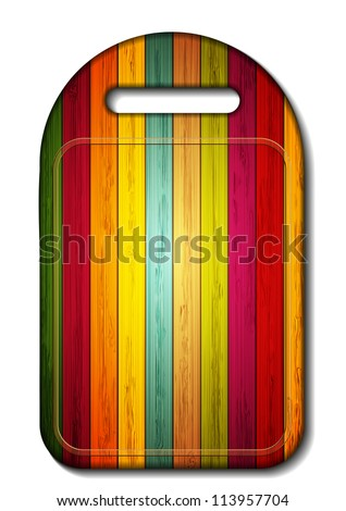 Vector colorful wooden cutting board on white background. Eps 10 - stock vector