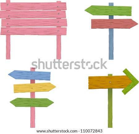 vector colorful wooden signs set 1