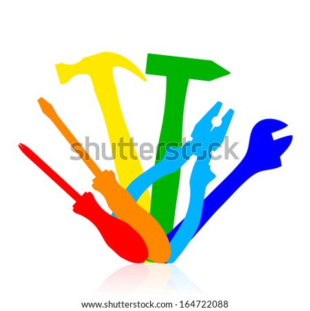 Vector colorful work tools icon  - stock vector