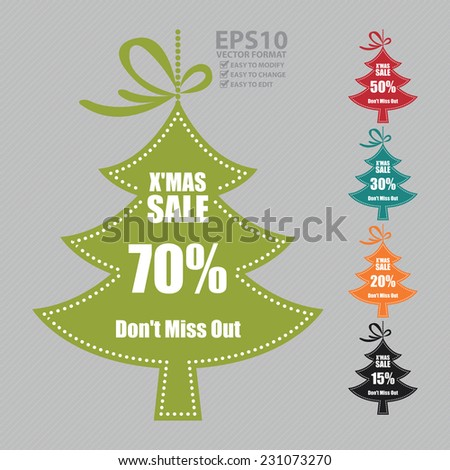 Vector : Colorful X'Mas Sale 50% Don't Miss Out on Christmas Tree Hanging Tag or Icon - stock vector