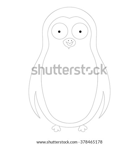 Vector coloring abstract cute pinguin on a white background - stock vector