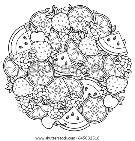 vector coloring book for adult for meditation and relax round shape of watermelon