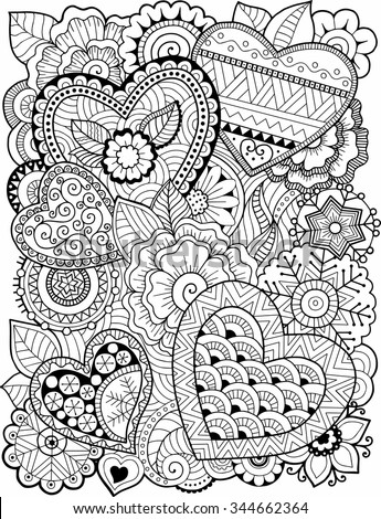 Vector coloring book for adult. Hearts and flowers - stock vector
