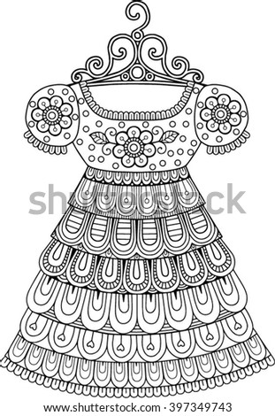 Vector Coloring Book For Adult Vintage Fashion Dress
