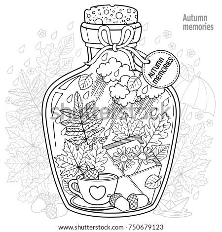 Vector Coloring Book For Adults A Glass Vessel With Memories Of Autumn And Love