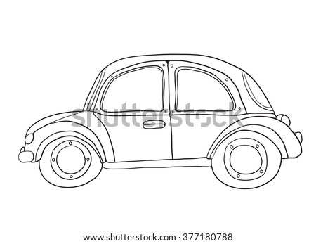 Vector Coloring Book For Children Car