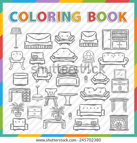 Vector coloring book.Hand drawn Icon set with various home interior decor,home accessories, furniture icons, sofas,armchairs, table,lamp, floor lamp,wardrobe,mirror,bed, chair in doddle style - stock vector