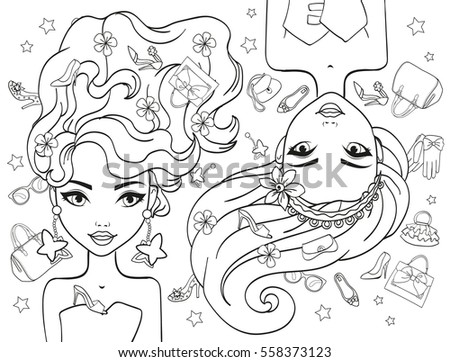 Vector Coloring Book Girls Fashion Objects Stock Vector 558373123 ...