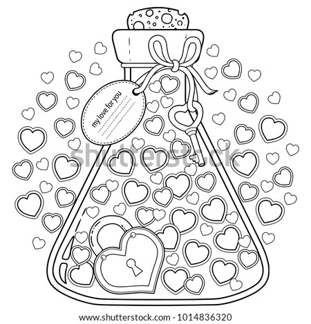 Vector Coloring Adults Valentines Day My Stock Vector HD (Royalty ...