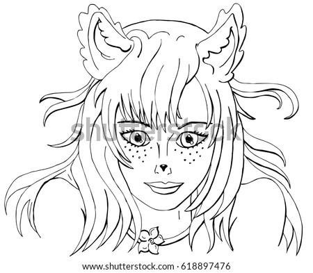 Vector Coloring Girl Fox Anime Style Book For Adults And Children