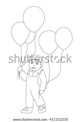 Vector Coloring Page Little Boy Balloons Stock Vector 411152230 ...